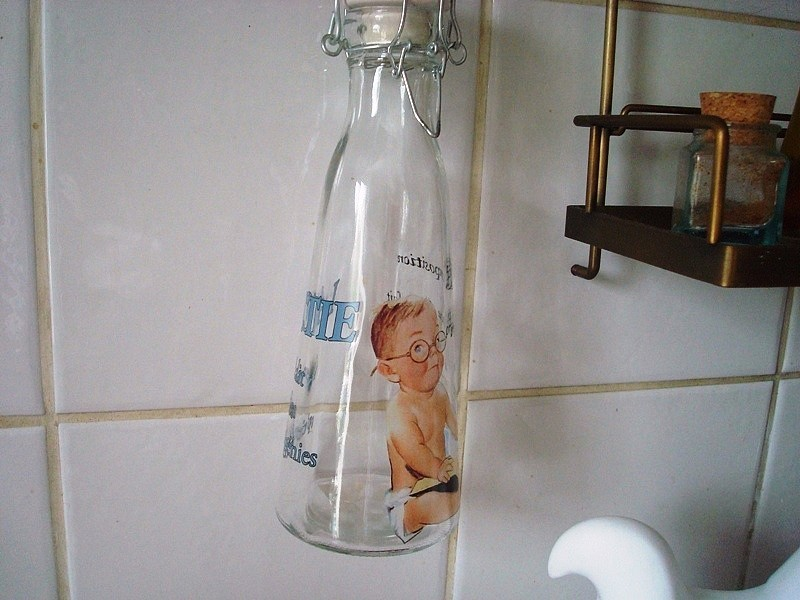 Bouteille de lait impression enfant, déco cuisine rétro