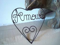 """Suspension coeur fil de fer """"Amour"""", déco coeur"""