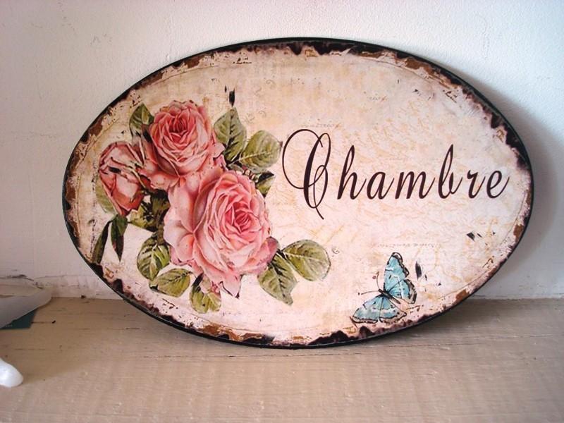 """Plaque de porte aux roses """"Chambre"""", déco de charme"""