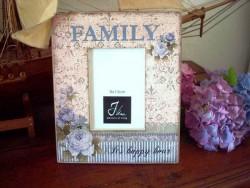 """Cadre photo aux fleurs bleues """"Family"""""""