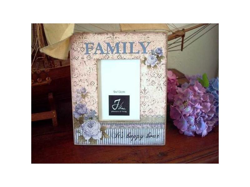 """Cadre photo fleurs bleues """"Family"""""""