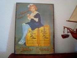 """Plaque publicitaire """"Tobler Cacao"""", style rétro"""