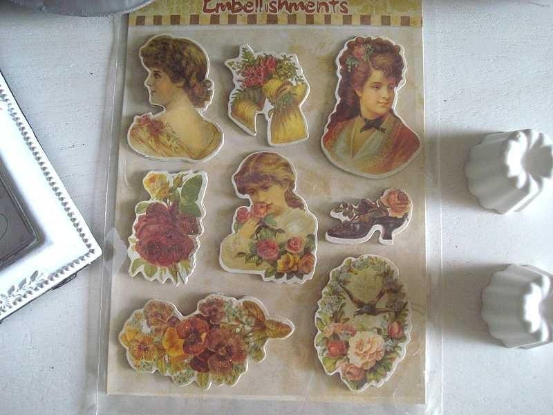 Pochette de 16 stickers façon ancienne chromo