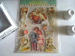 Pochette de 18 stickers style vintage
