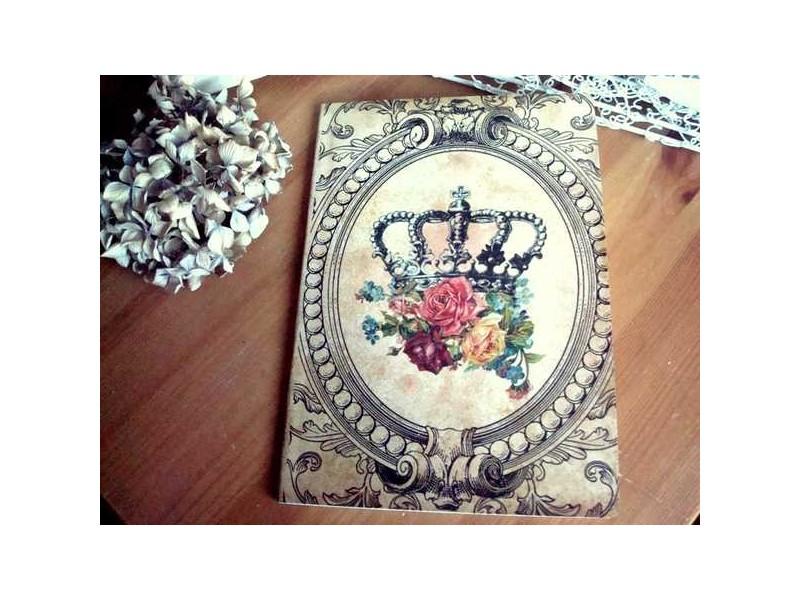 Carnet de notes bouquet de roses couronné
