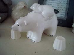 Famille d'ours blanc en faïence