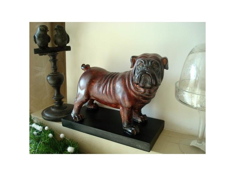 Statuette bulldog sur socle