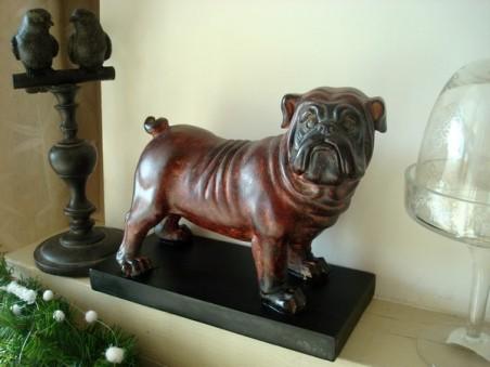 Statuette bulldog sur socle, déco vintage