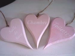 Set de 3 marque-portes en coeurs couleur rose