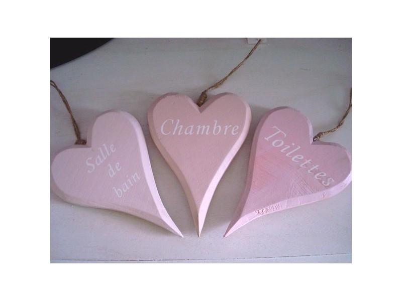 Set de 3 marque- portes coeurs roses
