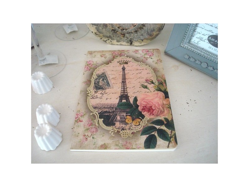 Grand carnet de notes rose et Tour Eiffel