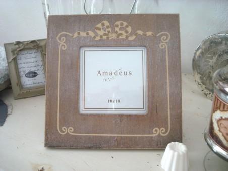 Cadre photo carré en bois au ruban