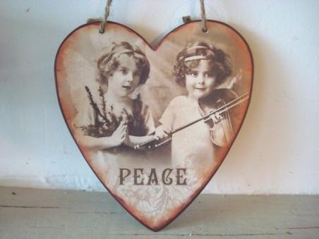 """Suspension coeur en métal fillettes """"Peace"""""""