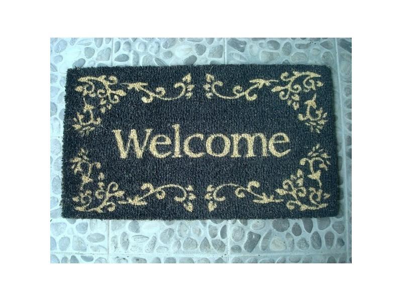 """Paillasson gris foncé """"Welcome"""""""