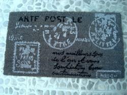 Paillasson gris tampons postaux
