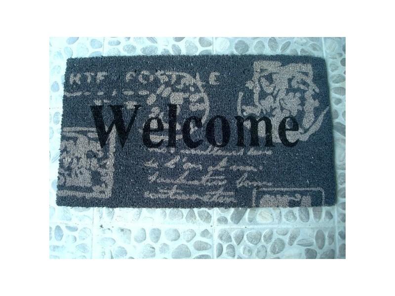 """Paillasson gris, beige et noir """"Welcome"""""""