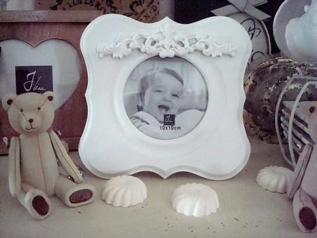 Cadre photo rond en bois blanc