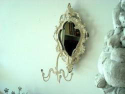 Petit miroir rétro et sa patère murale aux 6 crochets