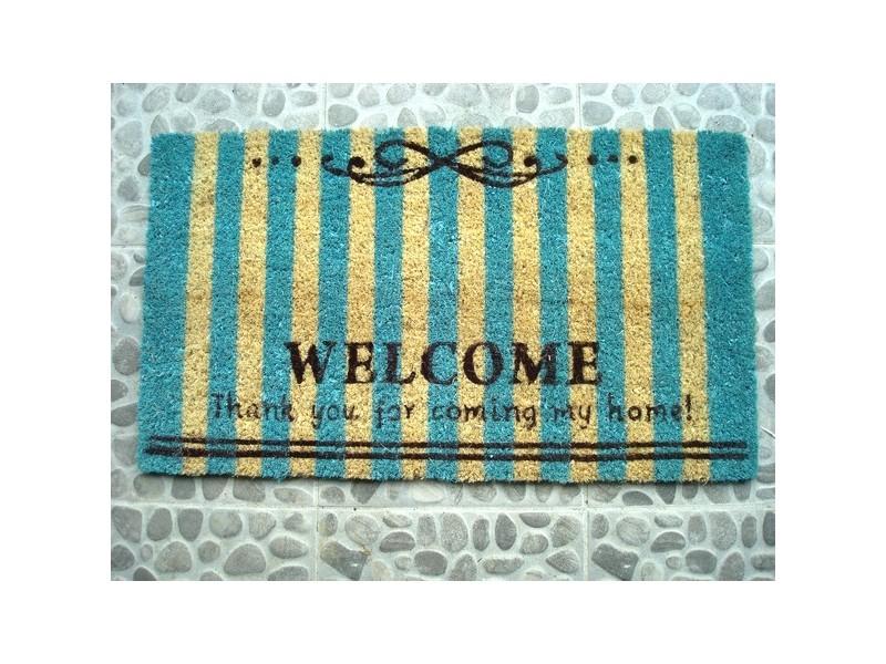 "Paillasson ""Welcome"" rayé bleu"