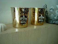 Duo de photophores dorés et couronnés
