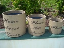 Série de 3 caches pots en métal recouvert de toile de jute