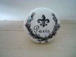 """Bouton de porte en porcelaine blanche """"Paris"""""""