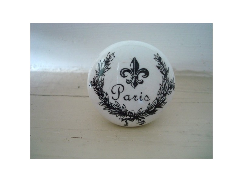 """Bouton de porte porcelaine blanche """"Paris"""""""