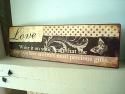 """Plaque décorative rétro en métal """"Love"""""""