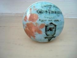 Bouton de porte porcelaine au décor cage à oiseau