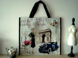 "Sac shopping vintage ""La parisienne"""