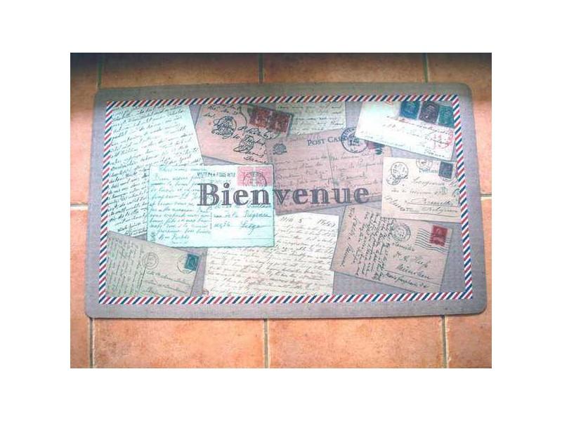 """Tapis de sol """"Bienvenue"""" aux cartes postales anciennes"""