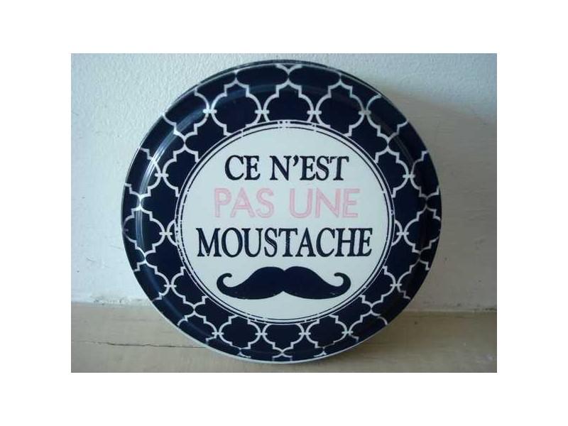 """Boîte ronde en métal """"Ce n'est pas une moustache"""""""