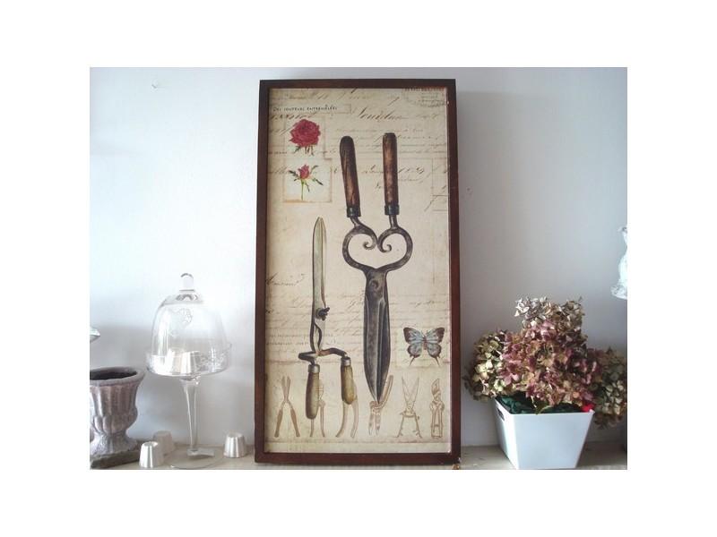 Tableau déco en bois aux cisailles et sécateur campagnard