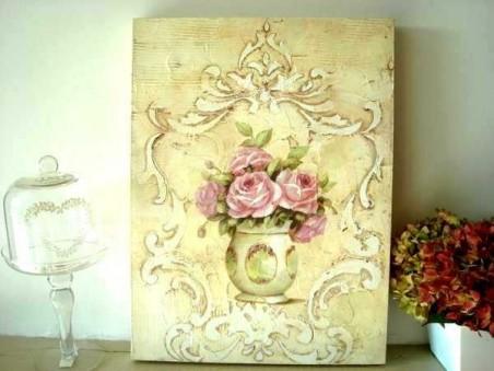 Tableau déco orné d'un bouquet de cinq roses