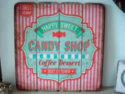 "Plaque décorative en bois ""Candy Shop"", style vintage"