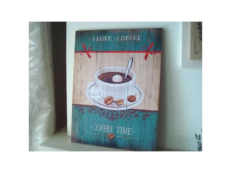 """Panneau décoratif """"Coffee Time"""", déco vintage"""