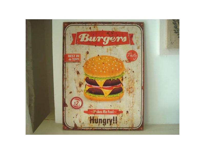 """Panneau décoratif """"Burgers"""", déco vintage"""