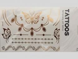 Tatouages éphémères dorés aux papillons, colliers, etc . .