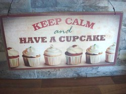 Plaque en bois vintage aux cupcakes pour cuisine