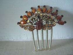 Peigne à cheveux bijou en forme de paon