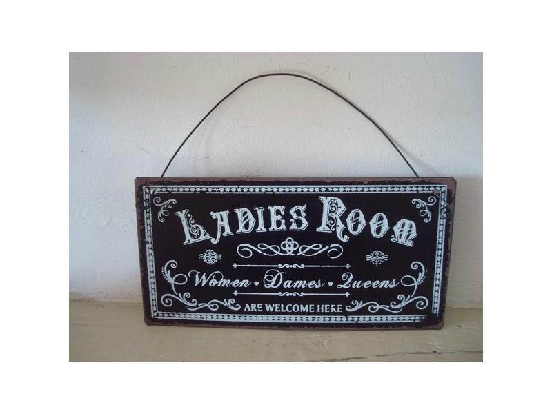 """Petite plaque de porte  """"Ladies Room"""", style rétro"""