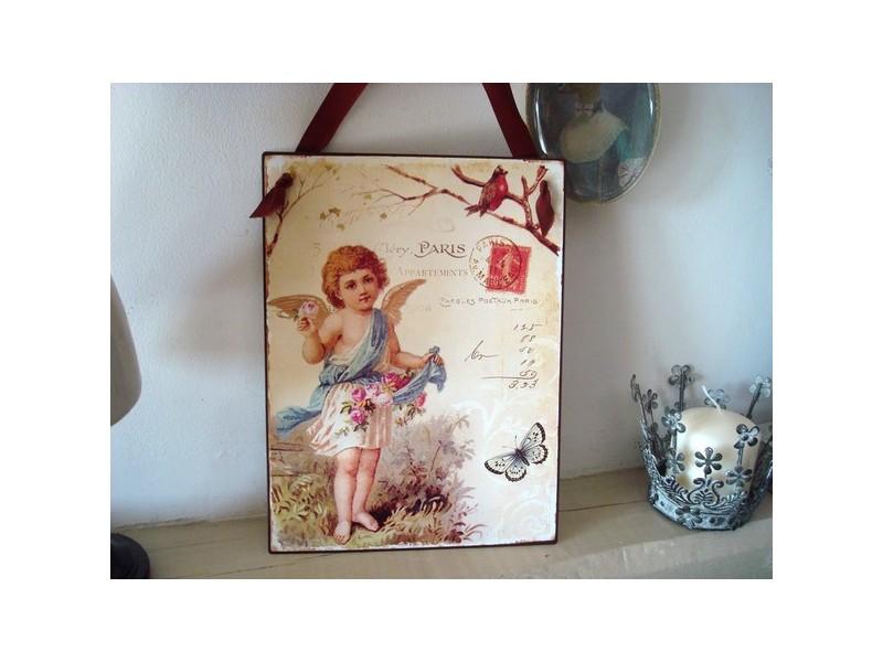 Plaque décorative au décor ange et oiseau, style gustavien