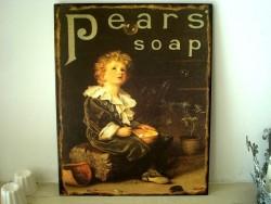 """Plaque murale métal """"Pears Soap"""", déco salle de bains"""