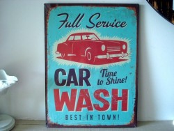 "Plaque décorative ""Car Wash"" style vintage"