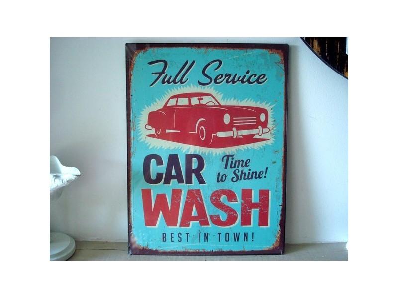 """Plaque décorative style années 50 """"Car Wash"""""""