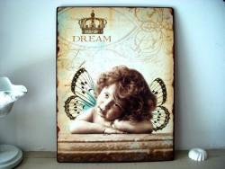 """Plaque décorative fillette papillon """"Dream"""", style cosy"""