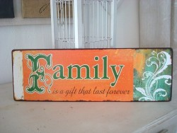 "Plaque murale originale ""Family"" orange, déco vintage"