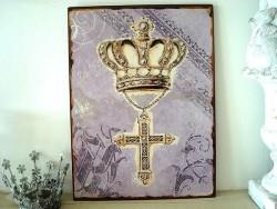 Plaque décorative rétro avec une croix et une couronne
