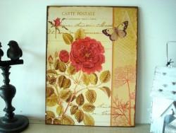 Plaque décorative fleur et papillon, style campagne chic