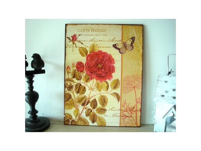 Plaque décorative fleur et papillon, style shabby chic